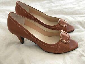 Next Size 6.5/40 Tan Coloured Peep Toe Court Shoes