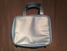 Cosmetic Bag Ice Blue 10X8X3.5 Carry Straps Two Compartments & Mirror Zipper