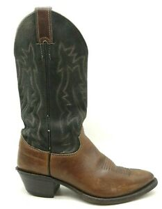 Justin Black Brown Leather Classic Cowboy Western Boots Women's 6.5 B