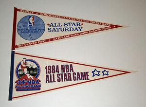 (2) 1984 NBA All-Star Game & All-Star Saturday pennants lot Slam Dunk Lary Nance