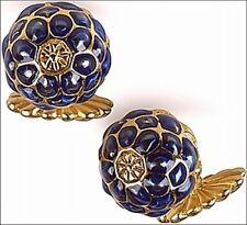"""Art Nouveau Blueberry Enamel Cufflinks 0.6"""" Diameter Men's Cufflinks Gold Plate"""