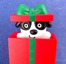 Hallmark PIN Christmas PULL STRING Puppy DOG in Box POP UP Vtg Holiday Brooch