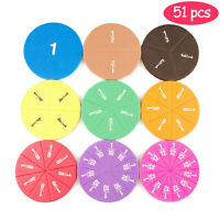 51 Stück Rainbow Circular Fractions Card Kinder Mathe Puzzle Spielzeug Alter 3+