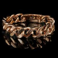 18K Rose Gold Plated CUBAN Miami Chain Link Stainless Steel MEN Womens Bracelet