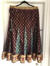 Handmade Indian  Layered Embellished Skirt Burgundy/gold/green Used