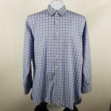 John W Nordstrom 120s 2 Ply Blue Check Plaid L/S Dress Button Shirt Sz 16/35