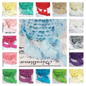 Gathered Scalloped Edge Trim - Cotton Fabric - 22 Colours - 1m/25m Wholesale