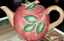 Vintage 1989 Fitz & Floyd Ceramic Red Apple Teapot Cute Excellent Condition !