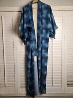 Vintage Kimono Traditonal Japanese Jacket Robe Geisha Blue Lined
