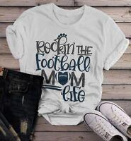 Women's Football Mom T Shirt Rockin The Football Mom Life Tee Game Day Shirts