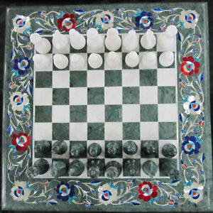 """18"""" Chess Board Green Marble inlaid Game Table Top home and garden decor"""