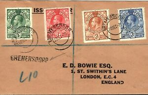 SWAZILAND KGV Cover *BREMERSDORP* CDS & Handstamp GB London 1937 PB249