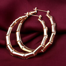Punk Old School Gold Bamboo Big Hoop Large Circle Earrings Jewelry gold pair hs