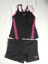 "Speedo Womens Monogram Tankini Boyleg Swimsuit - Black/Ecstatic Size 38""/Size 16"