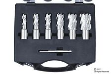 "6pc Set Annular Cutter Cobalt 3/4"" Weldon Shank 9/16 1-1/16 Magnetic Drill Bit"