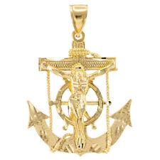 Yellow 14k Gold Mariner Crucifix Anchor Cross Pendant