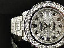 35 Ct New Mens Fully Iced Out Genuine Diamond Rolex Date Just 2 Ii 46Mm Watch
