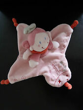 50- DOUDOU PLAT NICOTOY  POUPEE FILLE PRINCESSE  .  ANGE rose gris orange