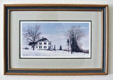 Snow Landscape by David W. Knowlton COUNTRY MANOR HOUSE Framed Print
