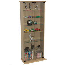 BOSTON  Glass Collectable Display Cabinet  CD DVD Storage Shelves Oak MS1012