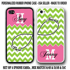 PERSONALIZED LIME GREEN CHEVRON BFF BEST FRIENDS CASES For iPhone 6S 6 5S 5C 4S