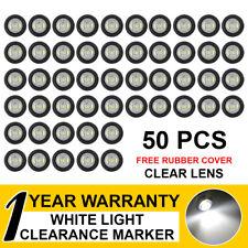 "50x Truck Trailer Caravan Lorry RV 3/4"" White LED Bullet Side Marker Rear Lights"