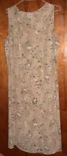 DRESS SAVVY NEW YORK-SLEEVELESS BEIGE FLORAL DRESS-SIZE 18W-PRE OWNED