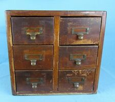 ANTIQUE OAK 6 DRAWER LIBRARY FILE CARD CABINET  BRASS PULLS ORIGINAL FINISH