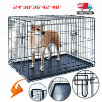 "Dog Crate Kennel Folding Pet Cage Metal 2Door With Tray Black 24""30""36""42""48"""