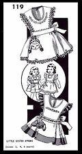 Little Sister APRON Sewing Pattern Girls Toddler 2-4-6 Doll / Puppy #119 Carol C