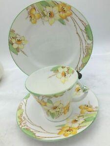 Art Deco Tea Set Trio Royal Albert Crown China Daffodil 784772  Circa 1927-1935
