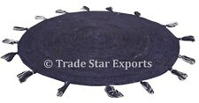 Indian Braided Jute Tassel Rug Indigo Round Floor Mat Boho Reversible Floor Rug
