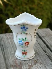 OLD VTG MINIATURE DOLLHOUSE WHITE PORCELAIN FLORAL VASE HAND PAINTED W/ GOLD RIM