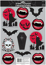 12 x Halloween Fangtastic Vampire Window Sticker Decorations Fangs BATS *CHEAP**
