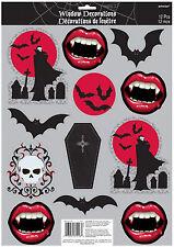 12 x Halloween Fangtastic Vampire Window Sticker Decorations Fangs BATS *CHEAP**