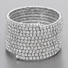 Rhodium Silver Paved Rhinestones Snake Like Stretchable Bracelet Stylish Trendy