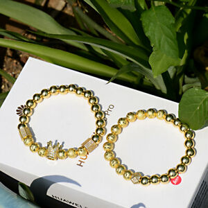 Fashion Men's Gold Plated Clear Zircon Crown & Polygon Beads Couple Bracelets