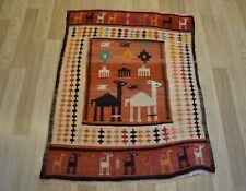 Antique Handmade Caucasian Soumak Azeri Kilim Camel-Deer-Fish 3Ft x 4Ft