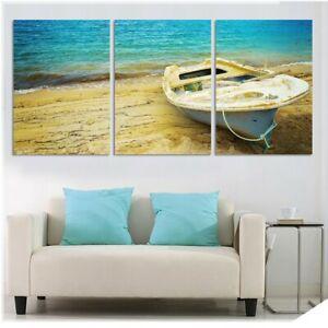 Beach and Boat View 3 pcs HD Modern Art Poster Wall Home Decor Canvas Print