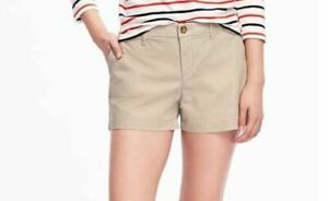 """Old Navy Khaki Shorts Womens 8 Beige Rolled Oats 5"""" Length New With Tags"""