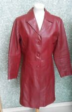 180 J24 GIPSY Damen Leder Mantel Ledermantel Gr. M rot dunkelrot Damenmantel