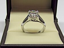 Certified 8 MM Off White Moissanite Diamond Engagement Solitaire Ring 14K Gold