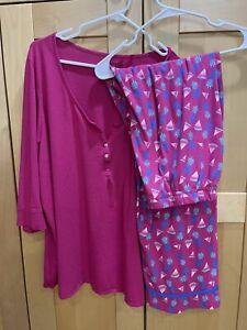 2-piece women's pajama set pink purple pineapples watermelons top 22/24 pants 18