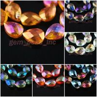 Charms Lampwork Faceted Glass Crystal Teardrop Heart Beads Findings 25x16mm
