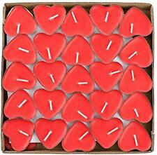 50 Love Red Candle Set - Heart Shaped Smokeless Tea Light Candles - for Day Day