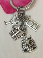 Happy Birthday Prosecco Cocktail Keyring Gift- With  Organza Gift Bag Freepost