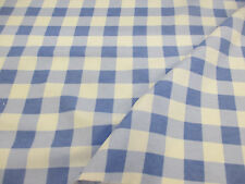 White & Light Blue Checked 100% Brushed Cotton Flannel Fabric. Price Per Metre!