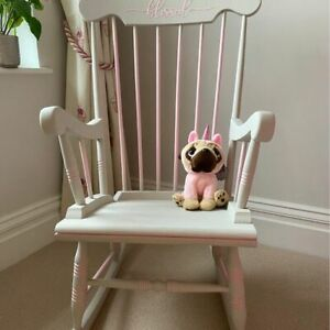 Vintage Solid wood hand painted rocking chair Ideal for nursing mum Pink/Neutral