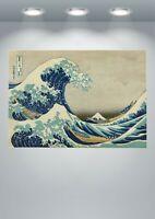 bedroom interior The Great Wave off Kanagawa kraft paper retro poster