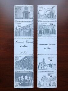 Mexico 1982-83 Scott #1306a & 1341a Gutter Pairs Colonial Monuments Mint NH